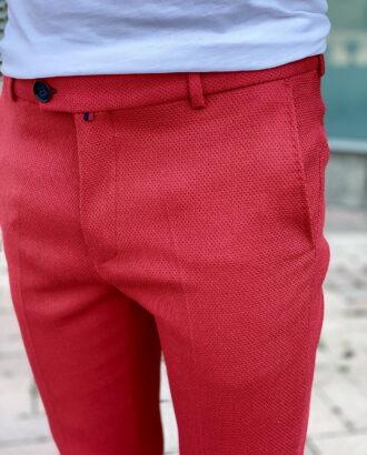 Мужские красные брюки slim fit. Арт.:2401
