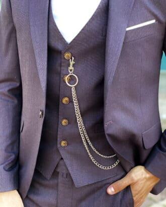 Мужской костюм-тройка фиолетового цвета. Арт.:2403