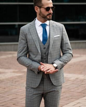 Серый мужской костюм-тройка. Арт.:2411