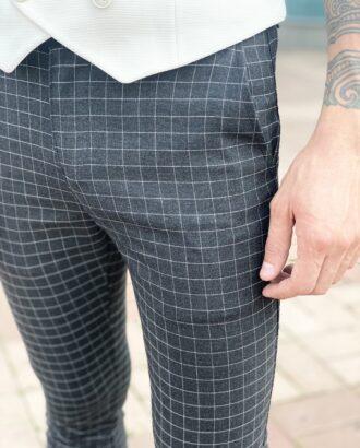 Мужские черные брюки в клетку. Арт.: 2469