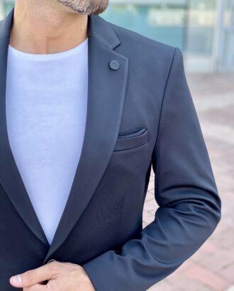 Чёрный приталенный мужской пиджак. Арт.: 2430