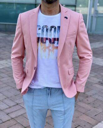Розовый slim fit пиджак. Арт.: 2431