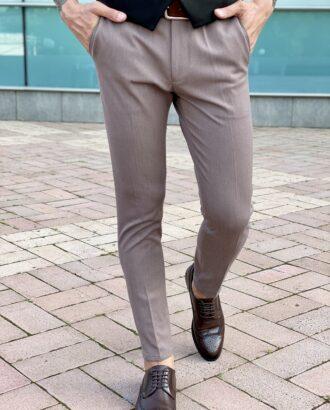 Мужские серые зауженные брюки, укороченной длины. Арт.:2475