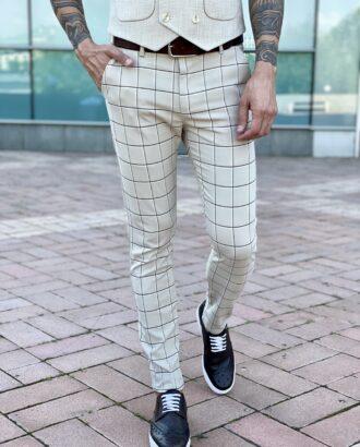 Мужские брюки белого цвета в черную клетку. Арт.: 2485