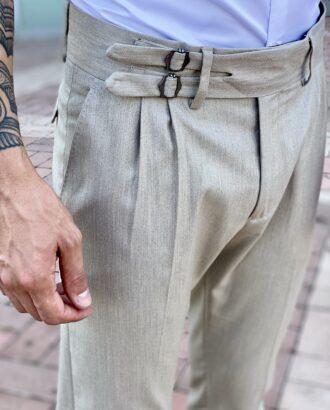 Серые укороченные брюки с защипами. Арт.: 2470