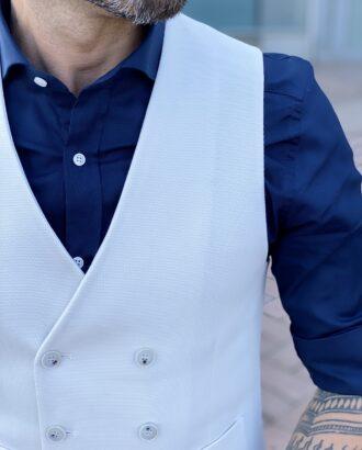 Мужской двубортный жилет белого цвета. Арт.: 2450