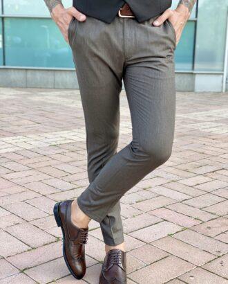 Мужские брюки коричневого цвета укороченной длины, итальянского кроя. Арт.: 2483