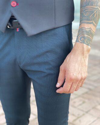 Мужские синие зауженные брюки, укороченной длины. Арт.: 2471