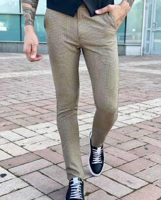 Бежевые брюки slim fit в клетку. Арт.: 2465