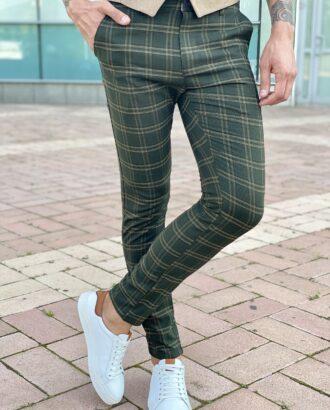Мужские зеленые брюки в клетку. Арт.: 2066