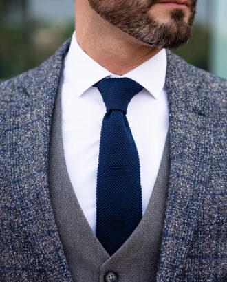 Серый мужской пиджак в крупную синюю клетку. Арт.: 2510
