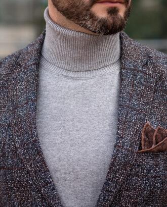 Серый мужской пиджак в крупную синюю и терракотовую клетку. Арт.: 2513
