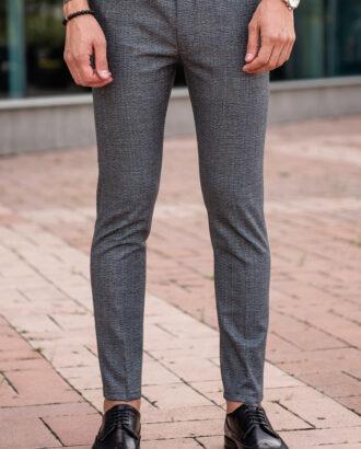 Серые мужские брюки в черную клетку. Арт.: 2541