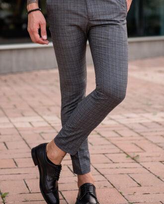 Серые мужские брюки в клетку гленчек. Арт.: 2544