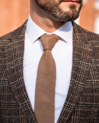 Коричневый мужской пиджак в клетку. Арт.: 2515