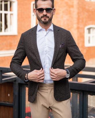 Серый фактурный мужской пиджак в клетку. Арт.: 2516