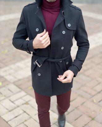 Черное мужское пальто с поясом. Арт.:2585