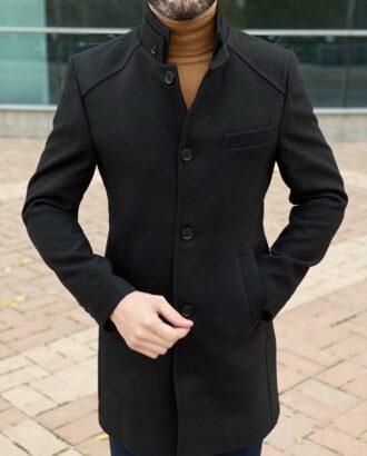 Черное мужское пальто. Арт.:2588